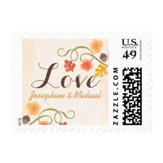 Fall Leaves Floral Acorn Wedding Love Postage
