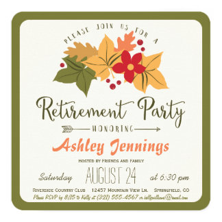 Fall Leaves, Flower Retirement Party Invitation