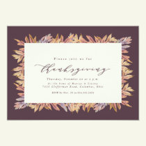 Fall leaves frame Thanksgiving Invitation