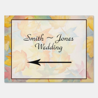Fall Leaves Gay Wedding Direction Sign