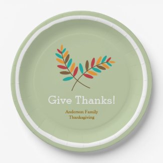 Fall Leaves Give Thanks, Personalized Thanksgiving 9 Inch Paper Plate
