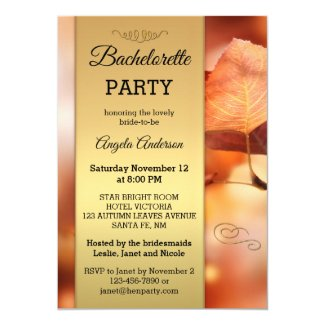 Fall Leaves Gold Bachelorette Party Invitation