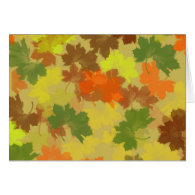Fall Leaves - Golden Background Greeting Card