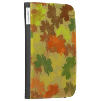 Fall Leaves - Golden Background Kindle Case