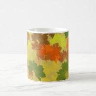 Fall Leaves - Golden Background Classic White Coffee Mug