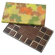 Fall Leaves - Golden Background 45 Piece Assorted Chocolate Box