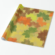 Fall Leaves - Golden Background Wrapping Paper