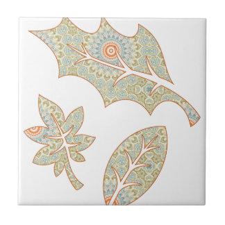 Fall Leaves Green and Orange Mandala Background Ceramic Tile