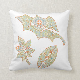 Fall Leaves Green and Orange Mandala Background Throw Pillow