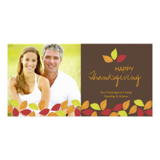 Fall leaves Happy Thanksgiving photo card