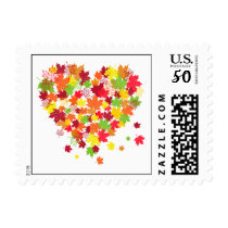 Fall Leaves Heart Postage