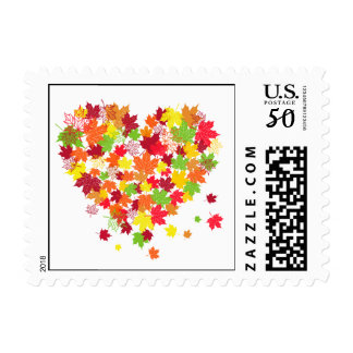 Fall Leaves Heart - square envelope postage