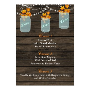 fall leaves in a mason jar wedding menu cards