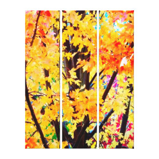 Fall Leaves In Late October 3 Panel Wrapped Canvas Stretched Canvas Print