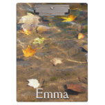 Fall Leaves in Pond Water Nature Photography Clipboards