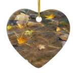 Fall Leaves in Pond Water Nature Photography Double-Sided Heart Ceramic Christmas Ornament