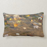 Fall Leaves in Pond Water Nature Photography Lumbar Pillow