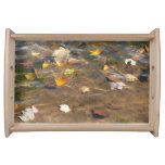 Fall Leaves in Pond Water Nature Photography Service Tray