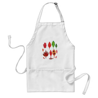 Fall Leaves in red, Green and Gold, Ink Painting Adult Apron