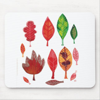Fall Leaves in red Green and Gold Ink Painting Mousepads