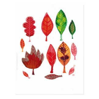 Fall Leaves in red, Green and Gold, Ink Painting Postcard
