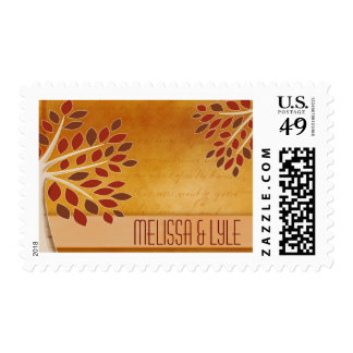 Fall leaves in rust, brown, copper and cream postage