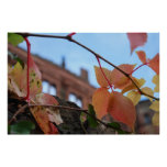 Fall leaves in the castle print