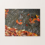 Fall Leaves in Waterfall I Autumn Photography Jigsaw Puzzle