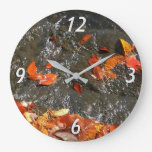 Fall Leaves in Waterfall I Autumn Photography Large Clock