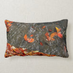 Fall Leaves in Waterfall I Autumn Photography Pillow