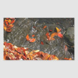Fall Leaves in Waterfall I Autumn Photography Rectangular Sticker