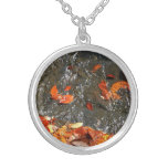 Fall Leaves in Waterfall I Autumn Photography Silver Plated Necklace