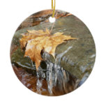 Fall Leaves in Waterfall II Autumn Photography Ceramic Ornament