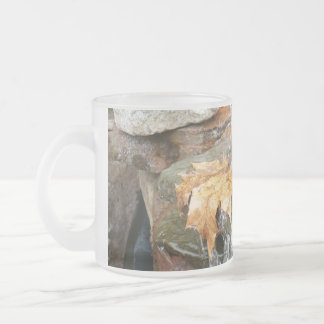 Fall Leaves in Waterfall II Autumn Photography Frosted Glass Coffee Mug