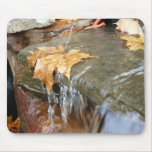 Fall Leaves in Waterfall II Autumn Photography Mouse Pad