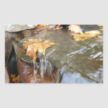 Fall Leaves in Waterfall II Autumn Photography Rectangular Sticker