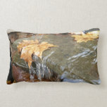 Fall Leaves in Waterfall II Autumn Photography Throw Pillow