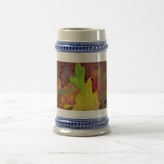 Fall Leaves in yellow, red, orange and Purple Beer Stein