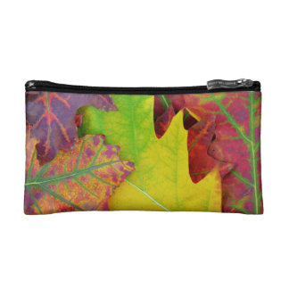 Fall Leaves in yellow, red, orange and Purple Makeup Bag