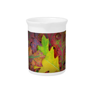Fall Leaves in yellow, red, orange and Purple Pitcher