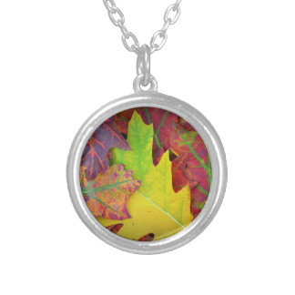 Fall Leaves in yellow, red, orange and Purple Round Pendant Necklace