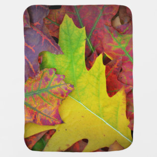 Fall Leaves in yellow, red, orange and Purple Stroller Blanket