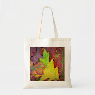 Fall Leaves in yellow, red, orange and Purple Tote Bag