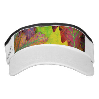 Fall Leaves in yellow, red, orange and Purple Visor