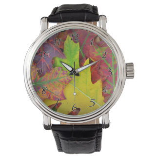 Fall Leaves in yellow, red, orange and Purple Wrist Watch