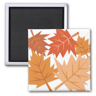 Fall Leaves 2 Inch Square Magnet