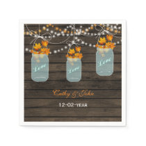 fall leaves mason jar personalized wedding napkin