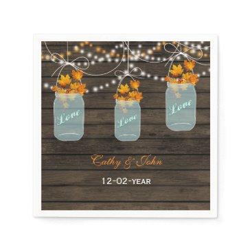 fall leaves mason jar personalized wedding napkin