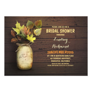 Fall leaves mason jar rustic bridal shower invites