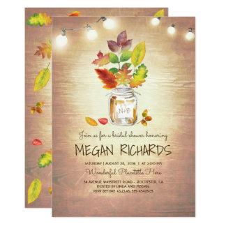 Fall Leaves Mason Jar Rustic Country Bridal Shower Card